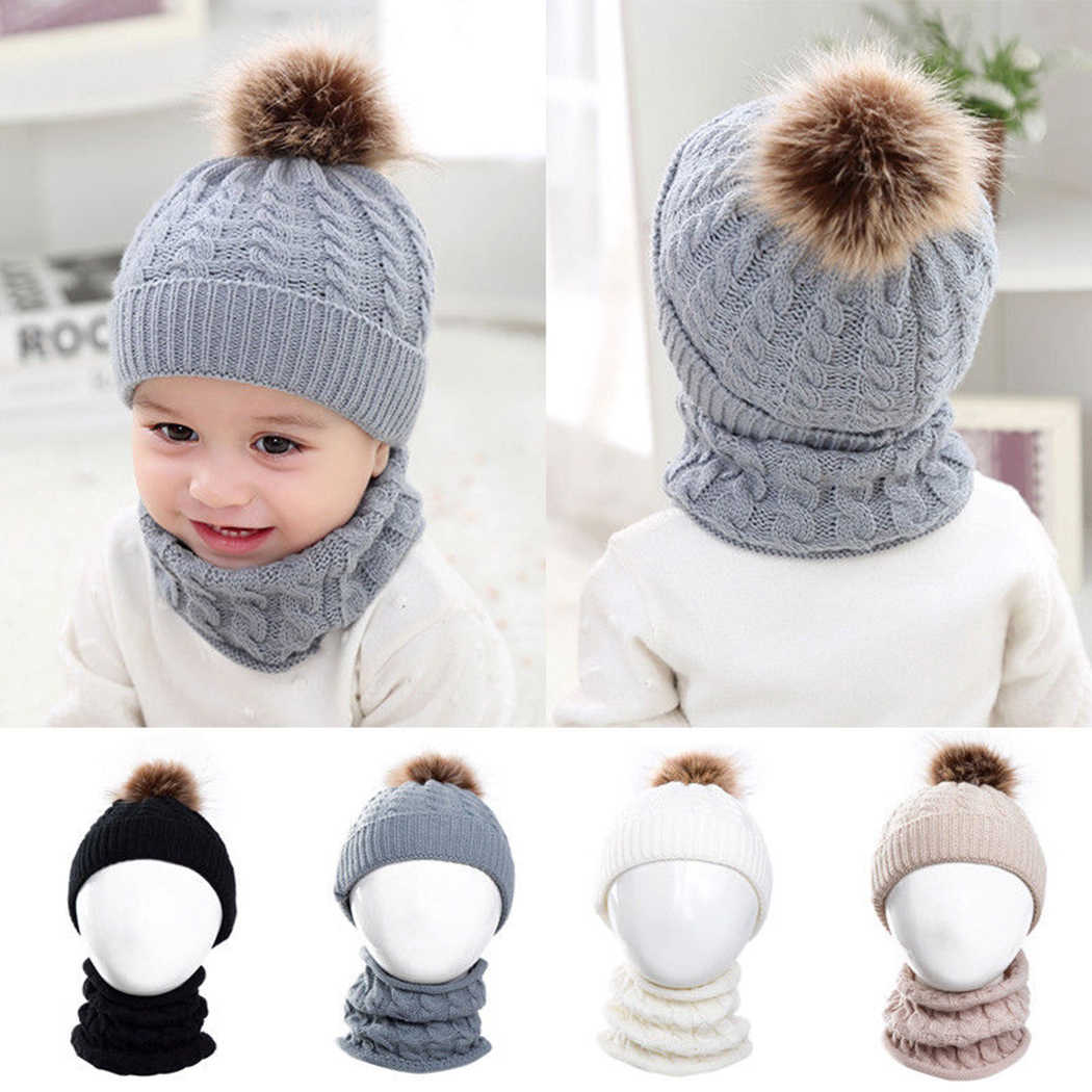 30fad1434b3 2Pcs Set Baby Kids Knitted Hat Scarf Children Winter Warm Pompom Fur Caps  Beanie Cute Boys