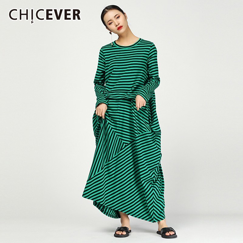 CHICEVER 2019 Spring Striped Dresses For Women O Neck Long Sleeve Loose Oversize Hit Colors Irregular