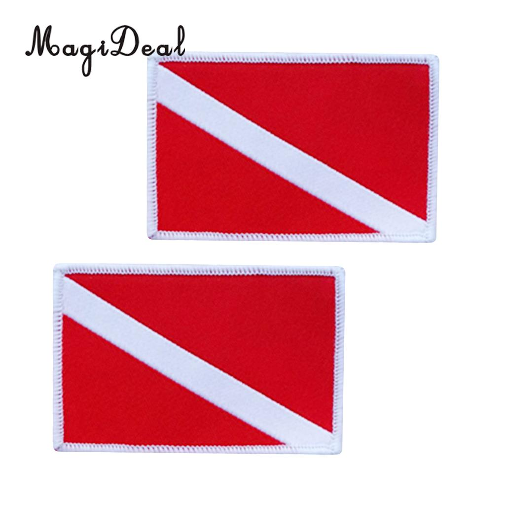 MagiDeal 2 Pieces Scuba Diving Flag Patch Backpack Badge Sew On Embroidered Patches SCUBA Snorkeling Swimming Diving Accessories