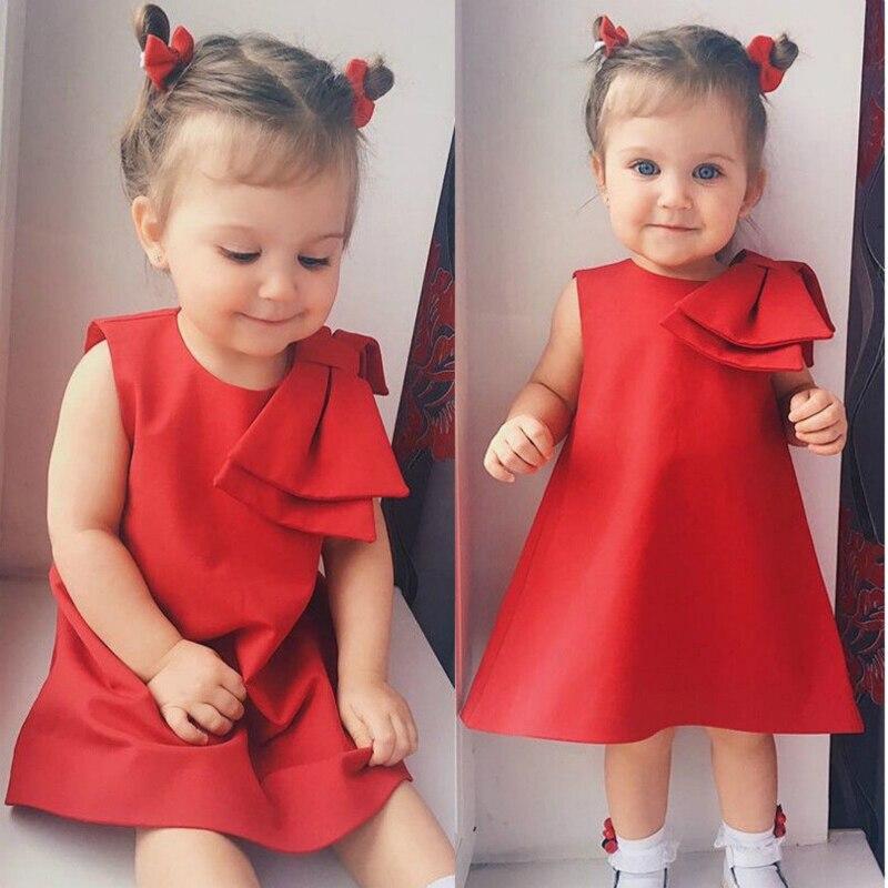Cute Girl Kids Children Stripe Knot Bow Summer Princess Party Sleeveless Dress