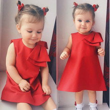 Summer Princess Girls Dress Kid Baby Big Bow-knot Party Wedding Red Princess Dress Sleeveless Tulle Tutu Kids Dresses For Girls(China)