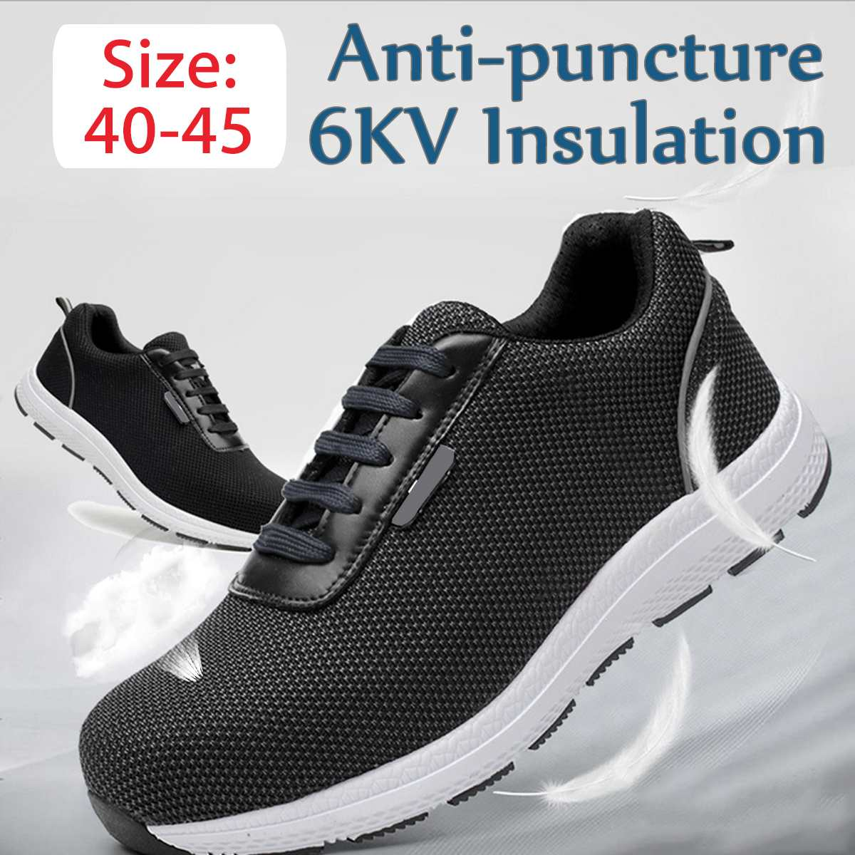 Men Lightweight Steel Toe Cap Reflective Work Safety Shoes 6KV Insulation Anti-puncture Breathable Construction Safety Boots