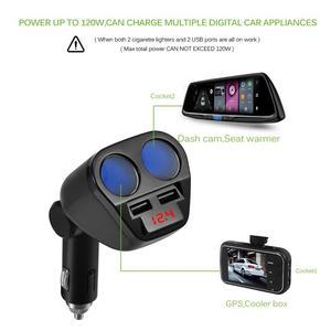 Image 3 - 1 To 2 120W 12V 24V Car Cigarette Lighter Socket Splitter Hub Power Adapter With Dual USB Charger Car Kits White/Black
