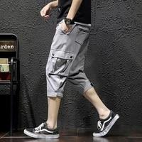 sweatpants 2019 summer Cotton Leisure Fashion Thin Men's Wear Work Clothes Linen Pants streetwear hip hop Free shipping Black