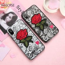 KISSCASE Case For iPhone 6 7 8 Plus Fashion Transparent Red Rose 6S Phone Bag X Fundas Capas