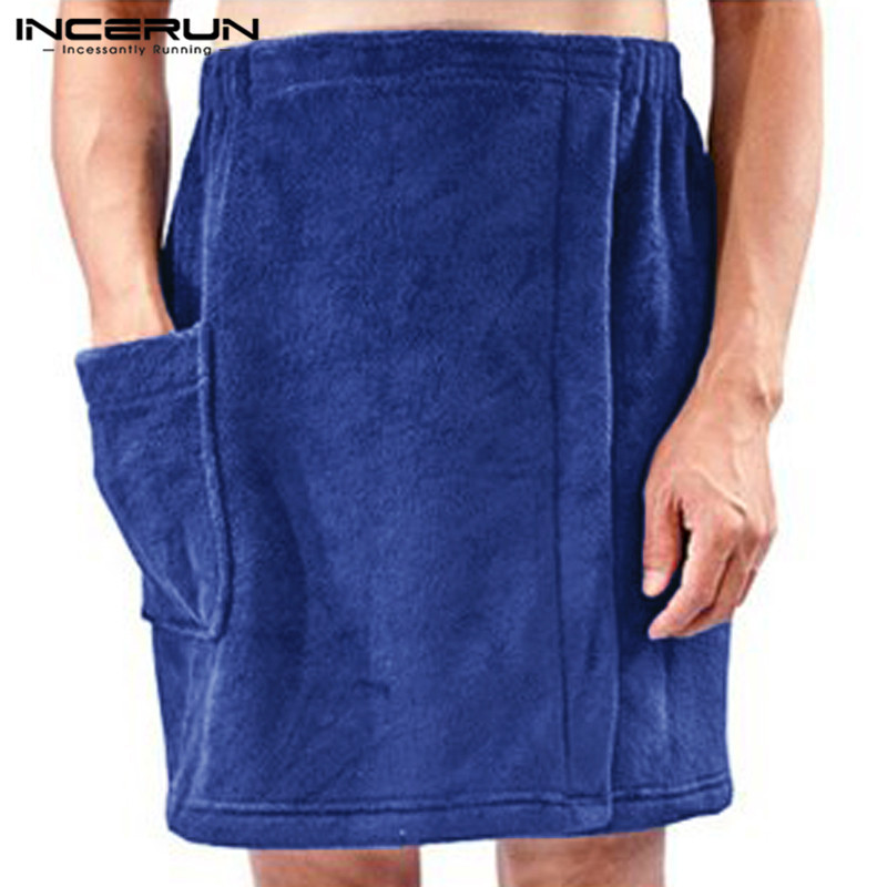Fashion Men Bath Towel Skirts Pockets Solid Soft Blanket Elastic Waist Comfy Beach Male Bath Skirts Bathrobes Plus Size INCERUN