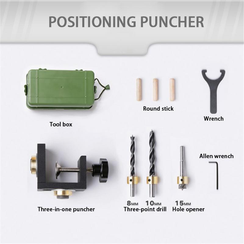 Heißer Verkauf Möbel Puncher Holzbearbeitung Werkzeug DIY Holzbearbeitung Tischlerei Hohe Präzision Dübel Jigs Kit 3 In 1 Bohren Locator
