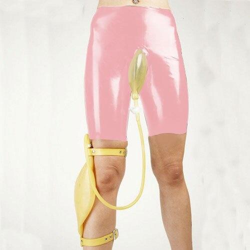 Latex Suit Rubber Men Unique Shorts Briefs Knee-Length Set Urine Bag Size XXS-XXL