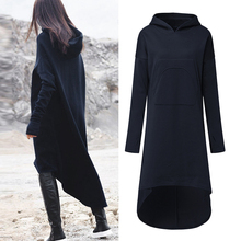e90ec72509d 2018 Plus Size ZANZEA Winter Solid Long Sweatshirt Dress Women Casual  Hooded Long Sleeve Pockets Fleece