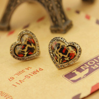 Korean Ornaments Fashion Exquisite Leopard Print Peach Auricle Nail Earring With Good Sale WJ31 GUC silver 925 jewelry christmas