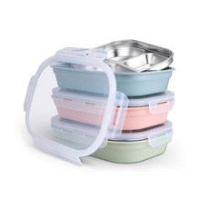 Stainless Steel Lunch Box Food Container for Kid School Office 3/4/5 Grids Dinnerware Storage ContainerFood Bento