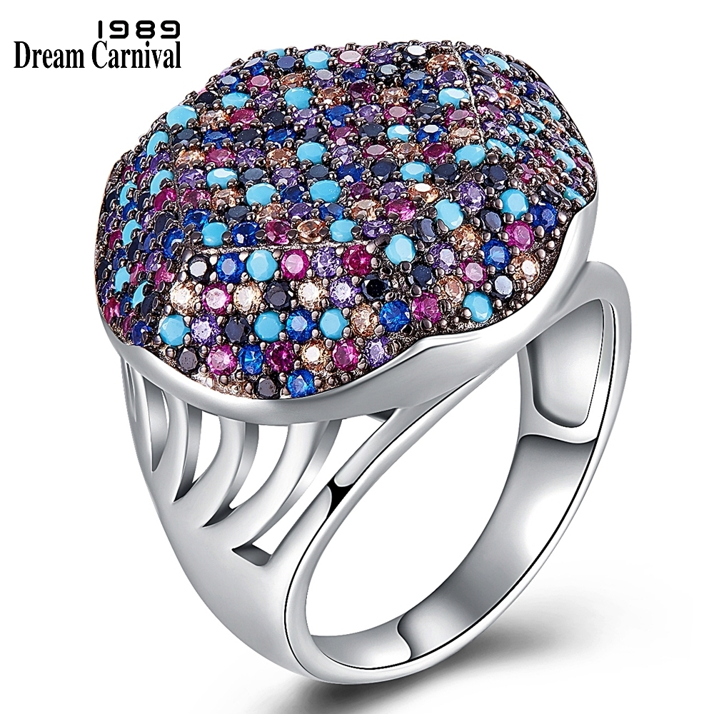 DreamCarnival 1989 Recommend New Hexagonal Silver Rings for Women Full Color Zircon Pave Bridal Wedding Ring