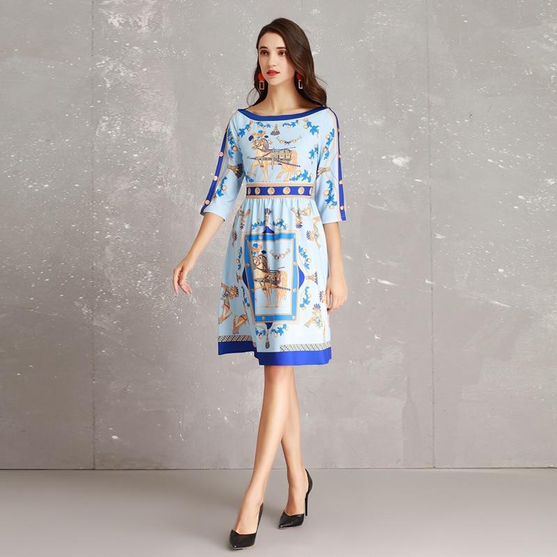 Mode Figure Longue Partie Designer 2019 Début Du Nouvelle Printemps Impression Robe Manches Sept Piste Grande Cercle Nail Au Haute nUSqpAww0