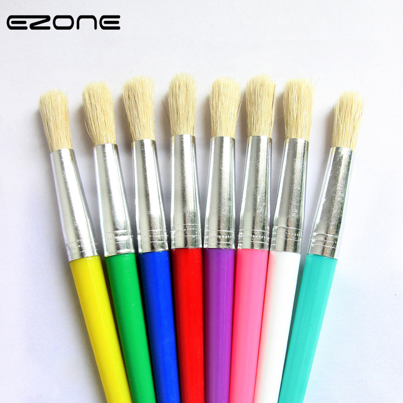 EZONE Paint Brush For Children Oil Watercolor Painting Candy Color Plastic Handel Bristel Brushes Gouache Drawing Art Supply