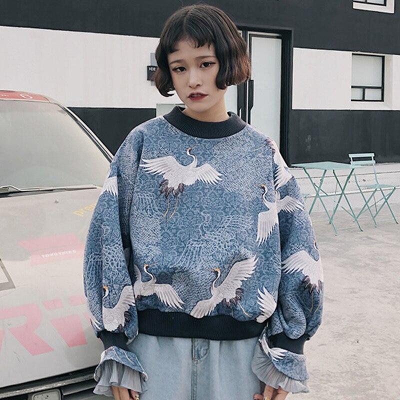 Harajuku Sweatshirts Hoodies Women Korean Ulzzang Vintage Crane Printed Long Sleeve Pullover Hoodie Womens Hoody Sweatshirt Top