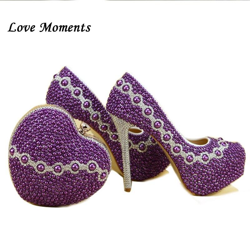 Nouvelle Arrivée Pourpre Perle chaussures et sacs à assortir femme chaussures avec les sacs assortis de mariage de coeur haute talons femmes Pompes chaussures