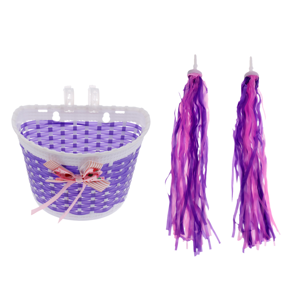 Girls Bicycle Accessories Front Basket Plastic Bike Bag Shopping Holder Case + Nylon Fiber Bike Scooter Streamers Purple