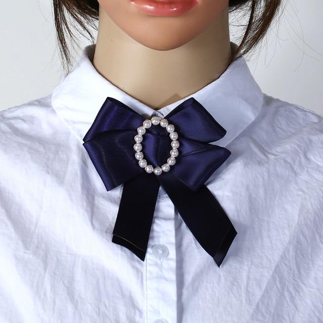 7d92d9751bd 2019 Fashion Soft Ribbon Fabric Bow Brooch Fashion Bow ties Flower Pearl Brooches  Pin Women Necktie Collar Shirt Brosh women