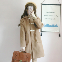 College style woolen jacket fashion loose Horn buckle long section Straight Autumn winter cute temperament woolen coat Female