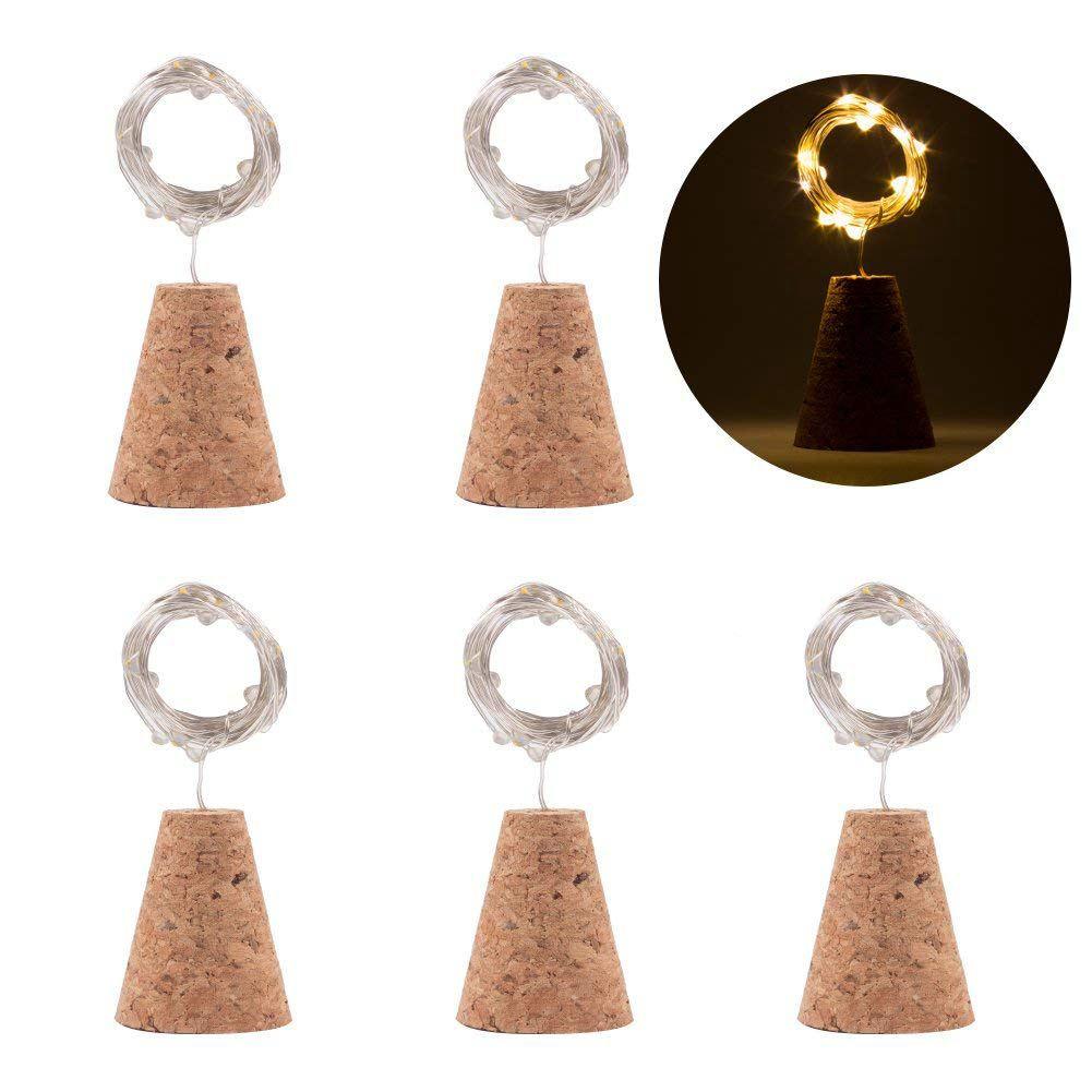 Wine bottle lamp natural cork base  warm white 20 LED cork lamp DIY shape copper wire string   table  party  wedding (6PCS)|Lighting Strings| |  - title=