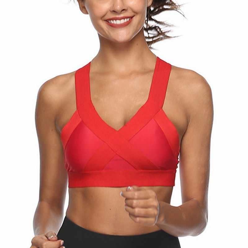 Противоударный Спортивный Жилет для фитнеса женщин для фитнеса бега зала бюстгальтер Градиент спортивный дышащий бюстгальтер спортивный топ тренировочный однотонный бюстгальтер для йоги