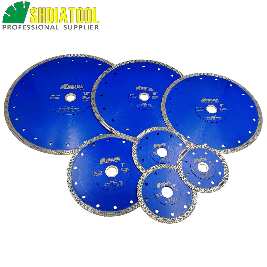 SHDIATOOL 2pcs Diamond Cutting Disc X Mesh Turbo Rim Segment Dia 4