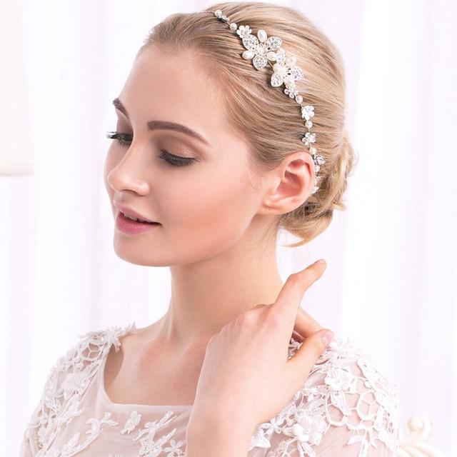cfb84787d73de4 2018 neue Haar Schmuck Frauen Hochzeit Zubehör Mädchen Party Stirnbänder  Perle Ornamente