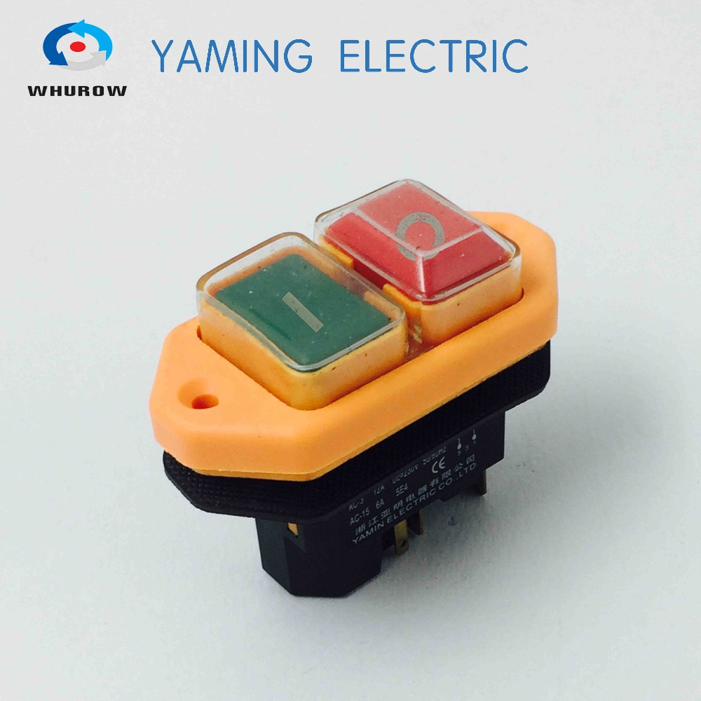 Free shipping Electromagnetic switch 5 Pin On Off red green Button 12A 230V restart and under voltage protection YCZ3 A in Switches from Lights Lighting