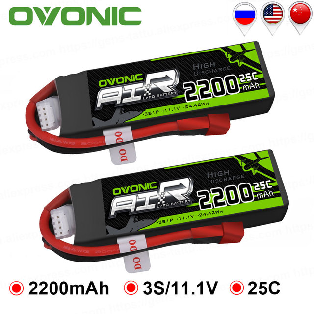 2 Packs OVONIC 2200mAh 11.1V Lipo 3S Battery 25C Max Burst 50C with Deans Plug T Connector for RC Car Drone Heli Boat Car