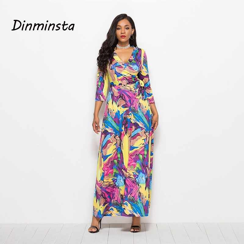 3829e267abc3b Dinminsta Women Floral Print Loose Long Dress Bohemian Floor Length Casual  Frocks Female Plus Size 2019 New Spring Boho Dresses