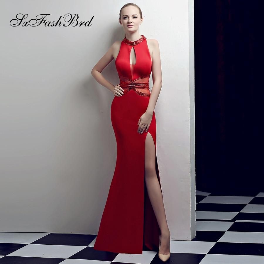 Abiti Da Cerimonia Donna Fashion Vestidos Festa Crystals O Neck Mermaid Split Long Party Women Evening Dress Sexy Prom Dresses