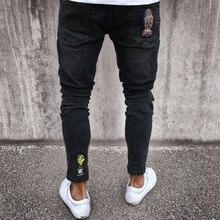 Pantalones vaqueros Hombre Vaqueros Skinny Rip corte Slim Denim Stretch  angustia deshilachado de Scratchted hueco largo Jeans ni. e315577a164