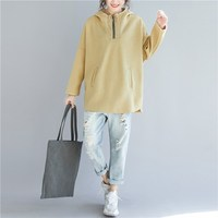 Plus Size Autumn Spring Women Fashion Elegant Zipper Turtleneck Tops Hoodies Solid Ladies Female Large Loose Sweatshirt