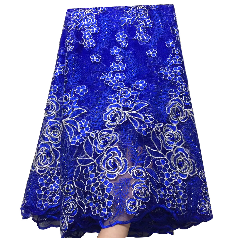 Best selling african tulle lace fabric 2019 high quality royal blue nigerian lace fabrics Embroidery tulle