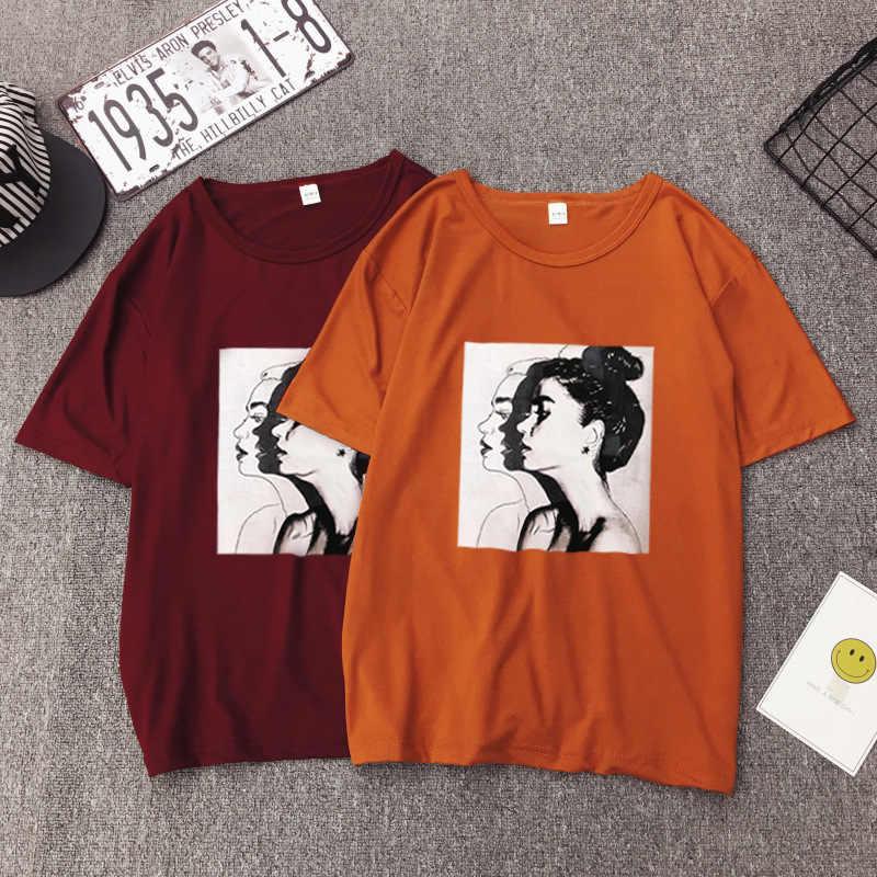10 kolory Plus rozmiar 2019 letnia koszulka kobiety moda druku z krótkim rękawem O-neck kobiety bluzki na co dzień luźne koszulka Femme koreański Top