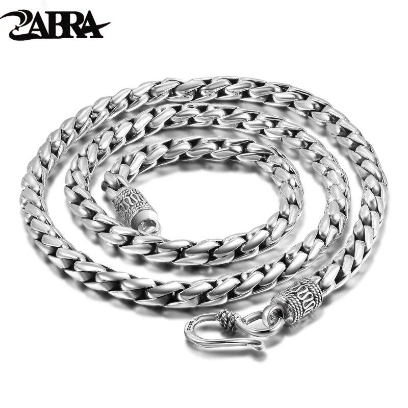 ZABRA stałe 925 Sterling Silver 5mm 55cm długi naszyjnik w stylu vintage naszyjniki dla mężczyzn Steampunk Retro Rock moda mężczyzna Sterling Silver biżuteria w Naszyjniki od Biżuteria i akcesoria na  Grupa 1