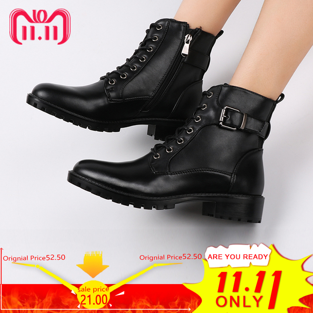 European Style Black Ankle Boots Flats Round Toe Black Zip Martin Boots PU Leather Woman Shoes With Warm Plush 5
