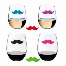 6 шт силиконовый красный маркер на стакан для вина маркер напитков креативные усы форма стекла идентификационный маркер(смешанный
