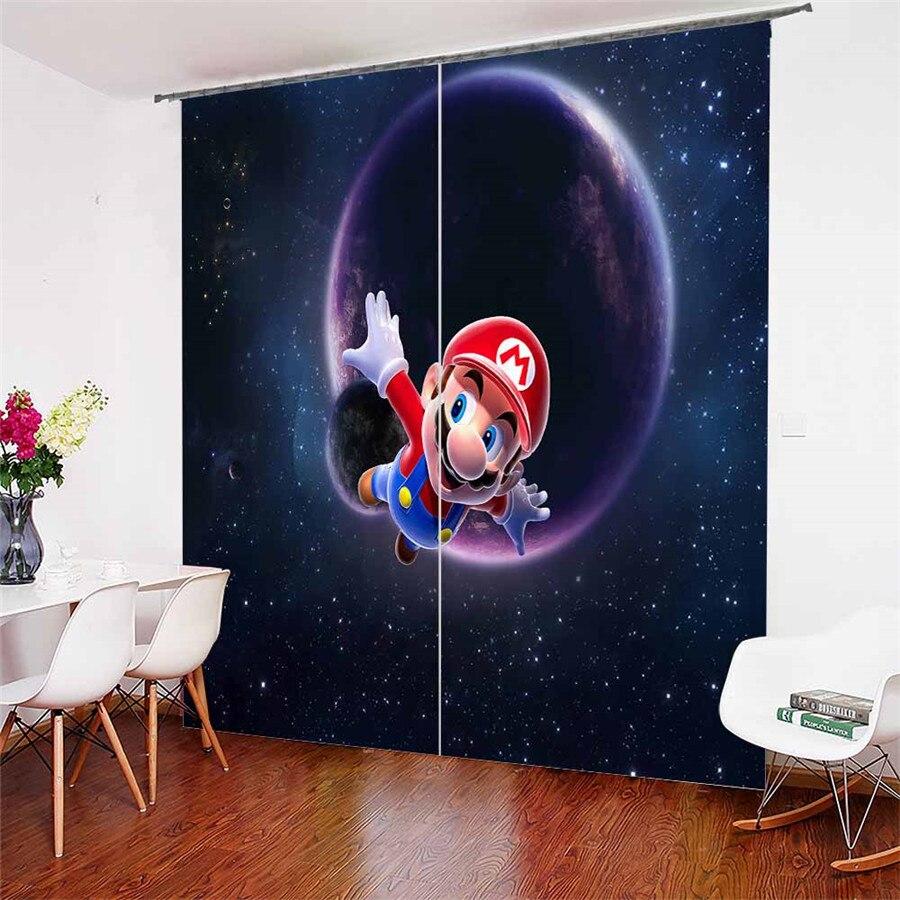 3D fenêtre rideaux Mario imprimer pour salon literie chambre décor à la maison tapisserie mur tapis rideaux Cotinas # MLA-4