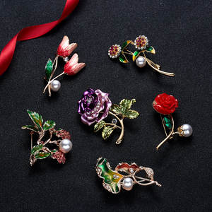 Rinhoo New Arrival Colorful Flower Brooches for Women Vintage Round Coat Brooch Pin Sweater Accessories High Quality Gift