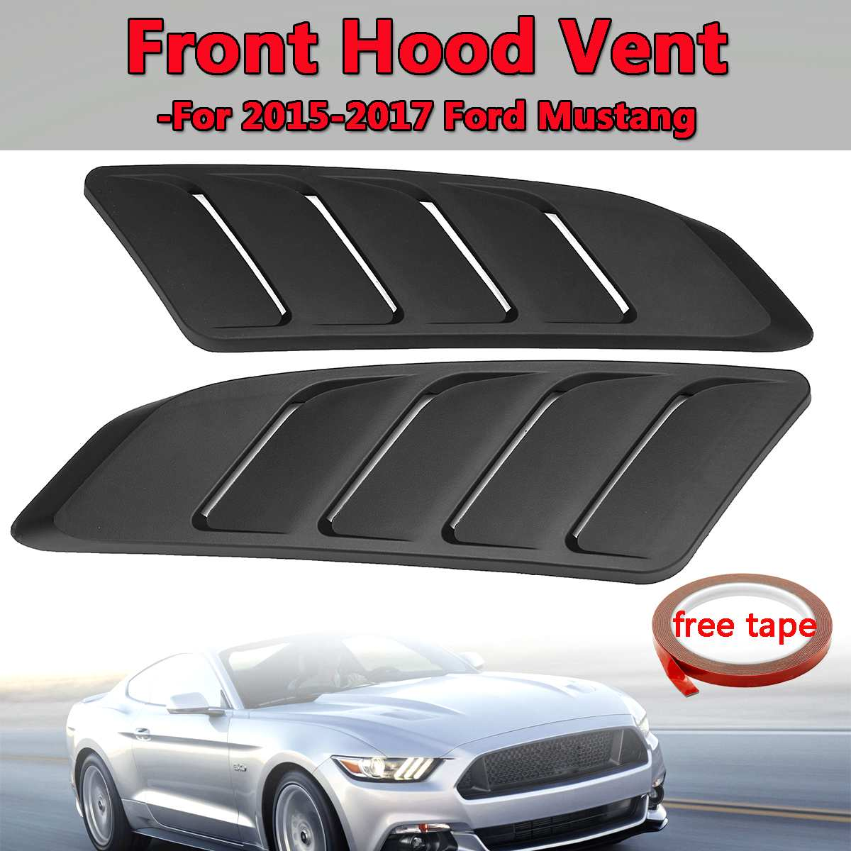 2Pcs Universal Car Air Intake Scoop Bonnet Hood Vent Front Hood Vent Fit For 2015 2017 For Ford For Mustang Panel Trim Black