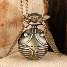Изысканные карманные часы со снитчем-мячом для детей, кварцевый кулон с крыльями, маленькое детское ожерелье, часы 80 см, цепочка, подарки, Пр...