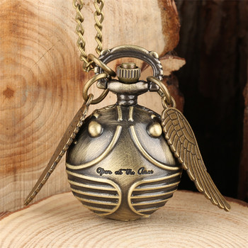 Exquisite Snitch Ball Pocket Watch for Kids Quartz Pendant with Wings Tiny Children Necklace Clock 80cm Chain Gifts Dropshipping - discount item  36% OFF Pocket & Fob Watches
