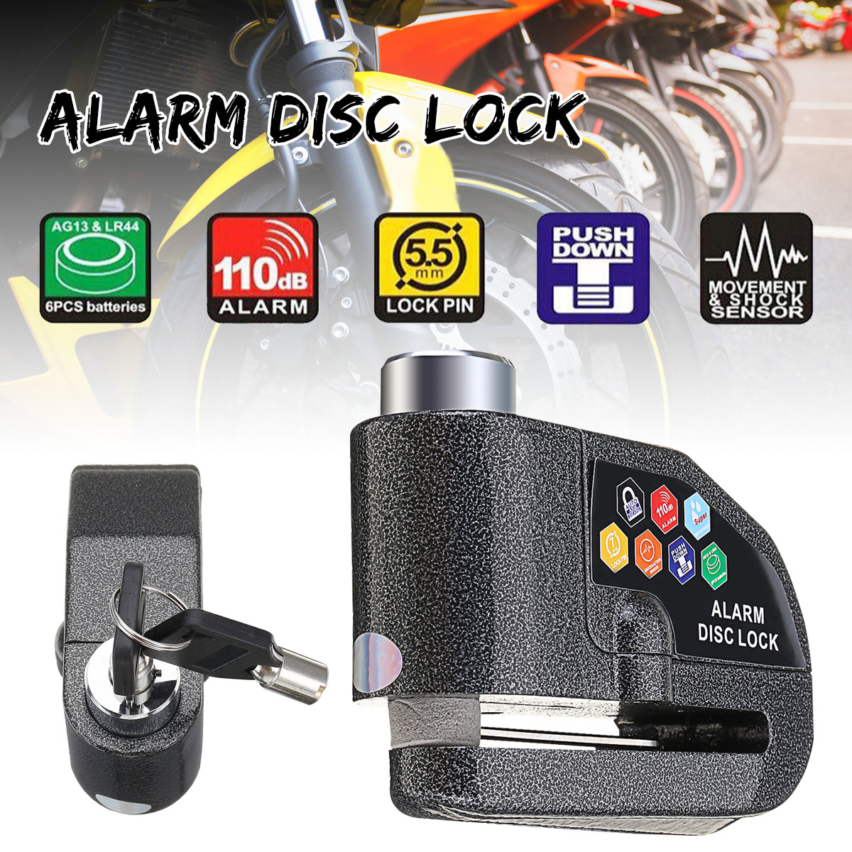 110DB Motorcycle Alarm Lock Motorbike Anti-theft Alarm Wheel Disc Brake Security Safety Siren Lock For Harley