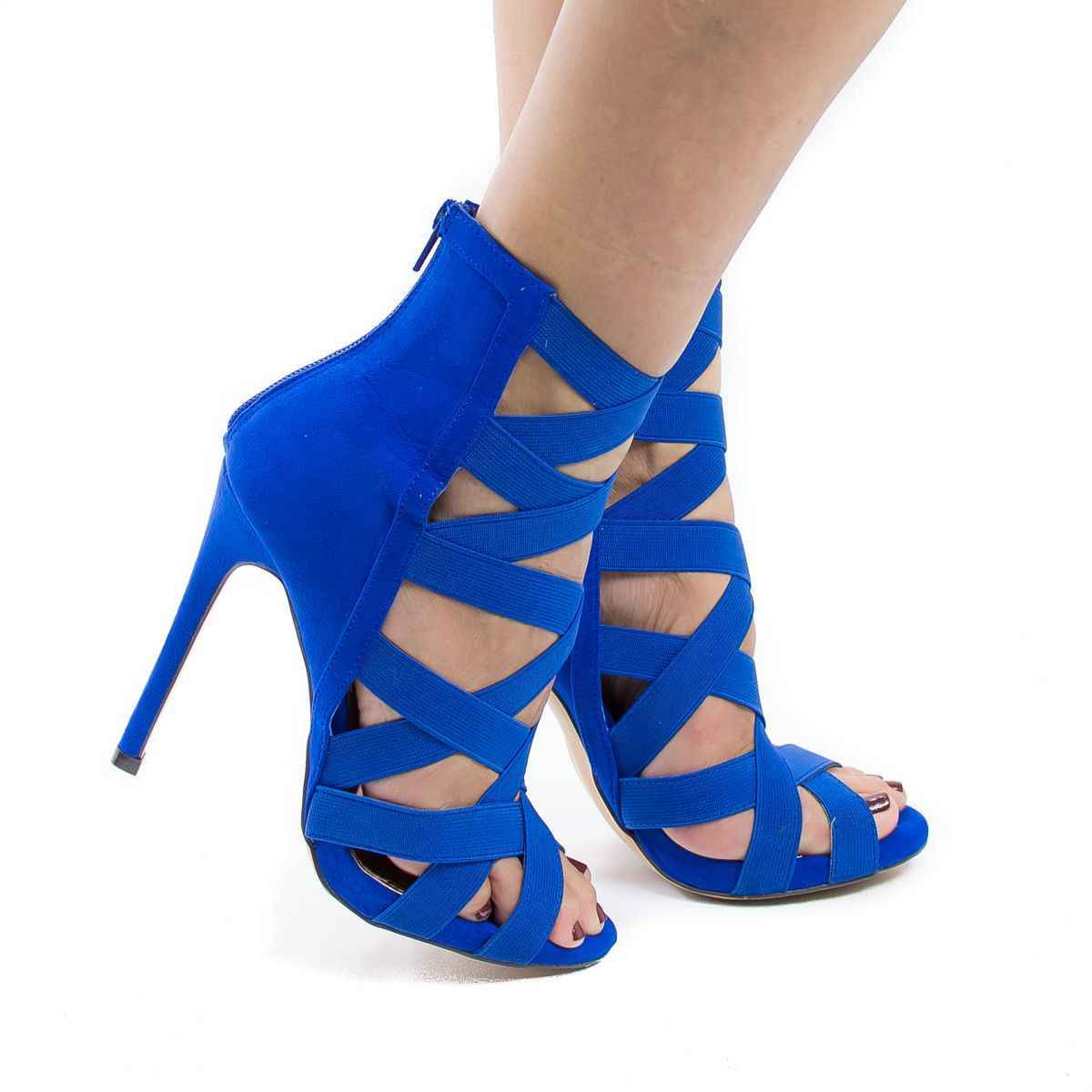 Sexy Blau Schwarz Cross Strap Frauen Sandalen Cut-out Peep Toe Stretch Stoff Gladiator Sandalen Frauen Zurück Zipper Käfig schuhe