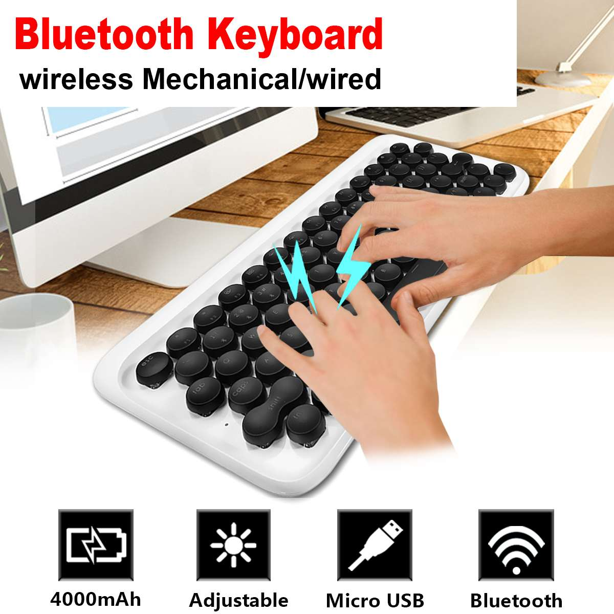 цена Wireless 78 Key Bluetooth Mechanical Backlit Keyboard Typewriter Mechanical Keyboard Wireless Keyboard