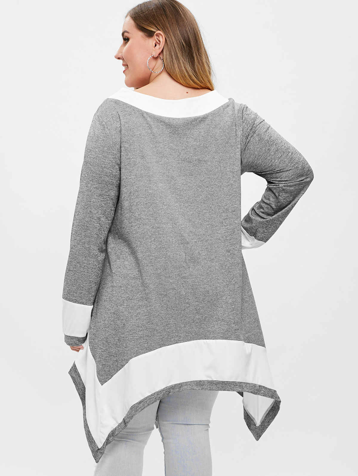 Wisalo повседневные пуловеры женские футболки размера плюс 5XL контрастный круглый вырез длинный платок с рукавами футболки женские топы тройники Большие размеры