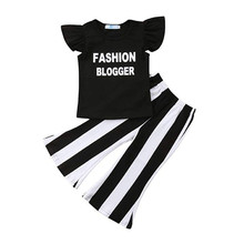 Baby  Girls Kids Clothes Round Neck Sleeveless Ruffle Letter Print Pullover T-Shirts Striped Trousers 2Pcs Cotton Baby Outfits недорого