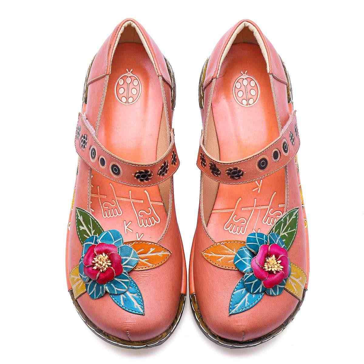 Socofy Bohemian Vintage Phong Cách Nữ Flat Retro Da Thật Chính Hãng Da Xuân Hè Áo Nền Tảng Nữ Giày Nữ Móc & Vòng Lặp Căn Hộ