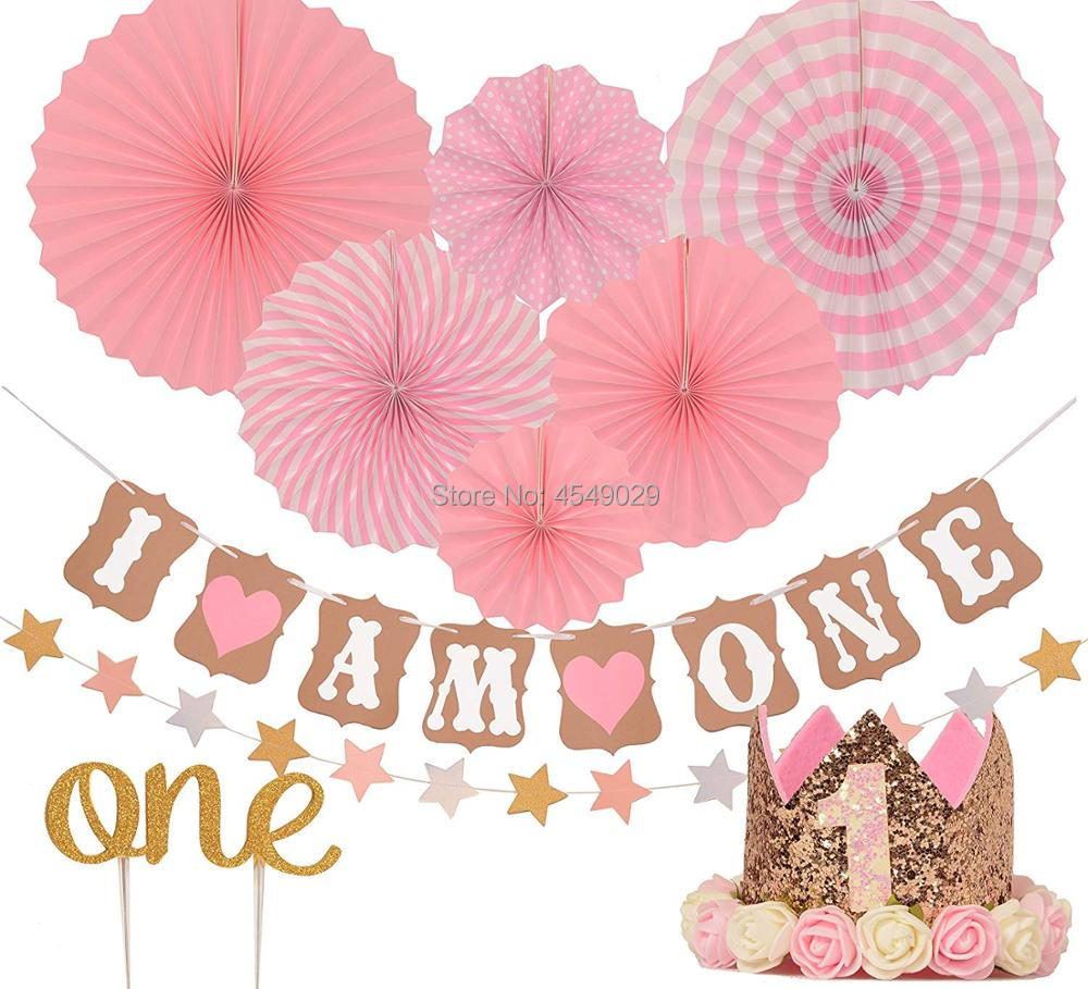 Us 19 98 20 Off Party 1st Birthday Decorations Set For Girl Pink And Gold First Baby Tiara Crown Hat One Cake Topper Foil Confetti Balloons In
